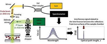 Imagen: Principio de operación del sensor, reflectómetro de coherencia óptica, de dominio espectral, fototérmico (PT SD-OCR) para la medición de la hemoglobina (Foto-imagen cortesía de la Universidad de Yonsei).
