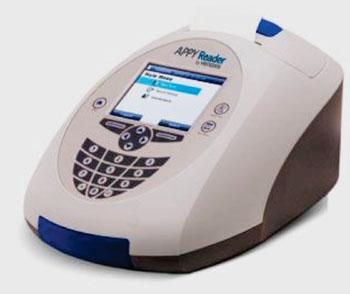 El APPYReader un instrumento compacto, automatizado, de inmunoanálisis, fluorescente, para calcular los resultados de la prueba APPY 1 (Fotografía cortesía de Venaxis).