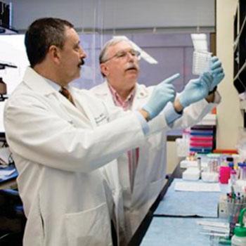 Imagen: Los investigadores evalúan los resultados de la prueba AQP1 ELISA, parte de un método no invasivo para detectar el cáncer renal midiendo la presencia de biomarcadores proteicos en la orina (Fotografía cortesía de la Facultad de Medicina de la Universidad Washington).