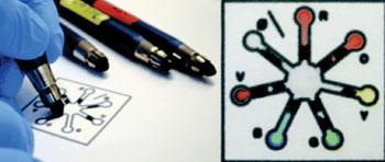 Conjunto de lápices reactivos para aplicaciones de pruebas diagnósticas