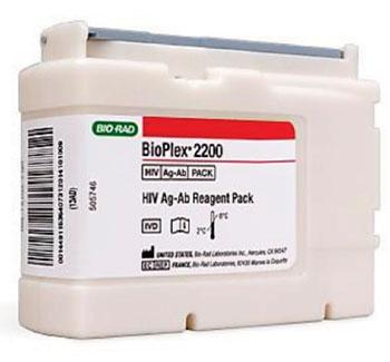 Imagen: El paquete de ensayo BioPlex 2200 HIV Ag-Ab (Fotografía cortesía de Bio-Rad Laboratories).
