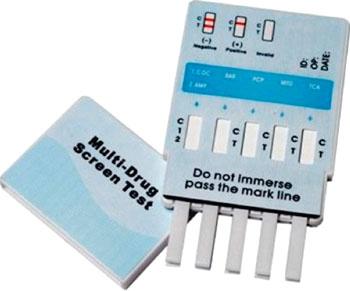 Imagen: El kit para el panel de análisis de orina de un solo paso a múltiples fármacos (Fotografía cortesía de WHPM).