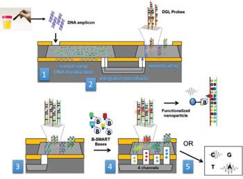 Imagen: Un diagrama del concepto de plataforma de biopsia líquida LiqBiopSens (Fotografía cortesía de AWSensors).