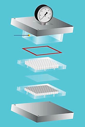 Imagen: Una ilustración de los componentes del sistema de microfiltración paralela (Fotografía cortesía de la Universidad de California).