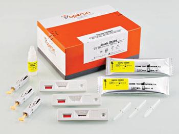 Imagen: Una prueba inmunocromatográfica CD2WB, diseñada para detectar, en la sangre humana, los anticuerpos de tipo IgA, contra la transglutaminasa tisular humana, el autoantígeno principal reconocido por los anticuerpos anti-endomisio, y los anticuerpos anti-gliadina. Su uso está indicado, sobre todo, para el diagnóstico de la enfermedad celíaca en pacientes pediátricos (Fotografía cortesía de Operon).