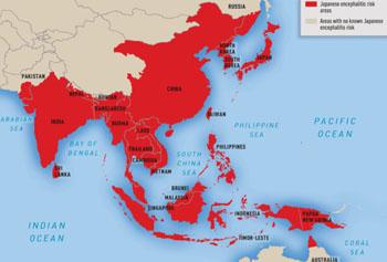 Imagen: La distribución geográfica de la encefalitis japonesa (en rojo) (Fotografía cortesía del CDC).